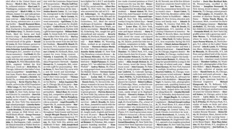 """Първа страница на в. """"Ню Йорк таймс"""": Те не бяха просто имена от списък. Те бяха ние"""